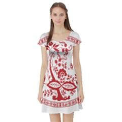 Red Vintage Floral Flowers Decorative Pattern Short Sleeve Skater Dress