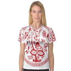 Red Vintage Floral Flowers Decorative Pattern Women s V-Neck Sport Mesh Tee