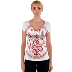 Red Vintage Floral Flowers Decorative Pattern Women s V-Neck Cap Sleeve Top