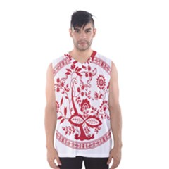 Red Vintage Floral Flowers Decorative Pattern Men s Basketball Tank Top