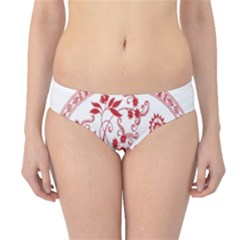 Red Vintage Floral Flowers Decorative Pattern Hipster Bikini Bottoms