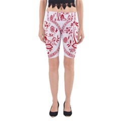 Red Vintage Floral Flowers Decorative Pattern Yoga Cropped Leggings