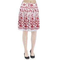 Red Vintage Floral Flowers Decorative Pattern Pleated Skirt
