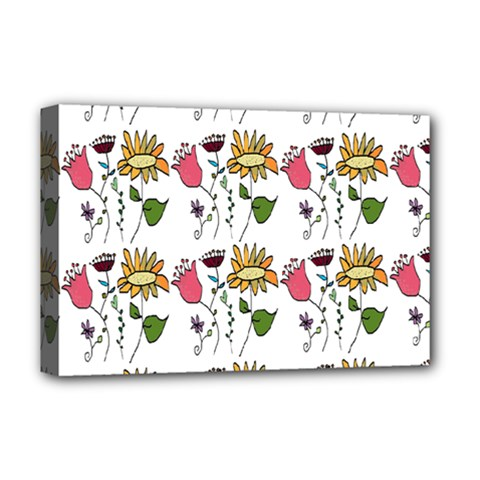 Handmade Pattern With Crazy Flowers Deluxe Canvas 18  x 12