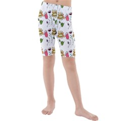 Handmade Pattern With Crazy Flowers Kids  Mid Length Swim Shorts