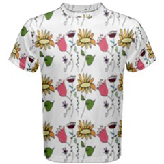 Handmade Pattern With Crazy Flowers Men s Cotton Tee