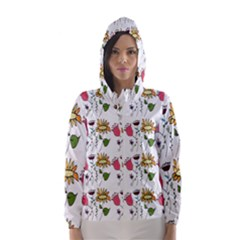 Handmade Pattern With Crazy Flowers Hooded Wind Breaker (women)