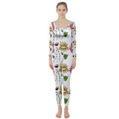 Handmade Pattern With Crazy Flowers Long Sleeve Catsuit