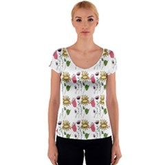 Handmade Pattern With Crazy Flowers Women s V-Neck Cap Sleeve Top
