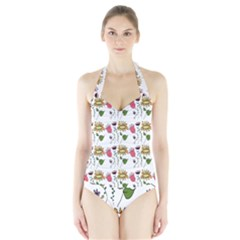 Handmade Pattern With Crazy Flowers Halter Swimsuit