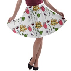 Handmade Pattern With Crazy Flowers A Line Skater Skirt