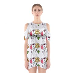 Handmade Pattern With Crazy Flowers Shoulder Cutout One Piece