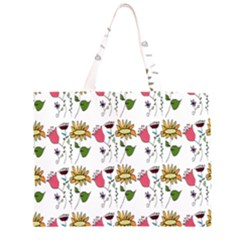 Handmade Pattern With Crazy Flowers Large Tote Bag