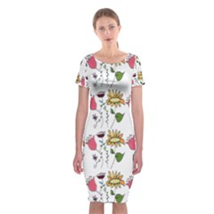 Handmade Pattern With Crazy Flowers Classic Short Sleeve Midi Dress
