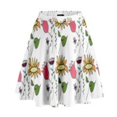 Handmade Pattern With Crazy Flowers High Waist Skirt