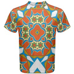 Digital Computer Graphic Geometric Kaleidoscope Men s Cotton Tee