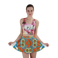 Digital Computer Graphic Geometric Kaleidoscope Mini Skirt