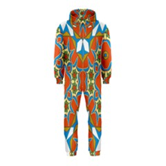 Digital Computer Graphic Geometric Kaleidoscope Hooded Jumpsuit (kids)