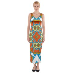 Digital Computer Graphic Geometric Kaleidoscope Fitted Maxi Dress