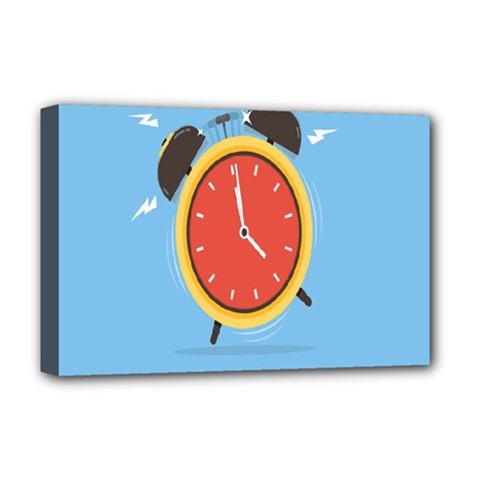 Alarm Clock Weker Time Red Blue Deluxe Canvas 18  x 12