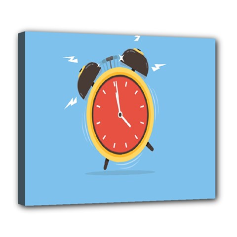 Alarm Clock Weker Time Red Blue Deluxe Canvas 24  x 20