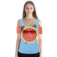 Alarm Clock Weker Time Red Blue Butterfly Sleeve Cutout Tee