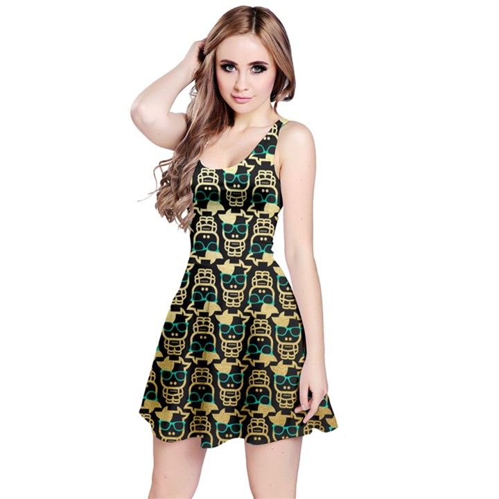 cowcow-pattern Reversible Sleeveless Dress