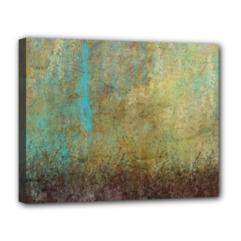 Aqua Textured Abstract Canvas 14  x 11