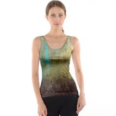 Aqua Textured Abstract Tank Top