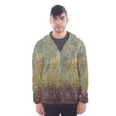 Aqua Textured Abstract Hooded Wind Breaker (men)
