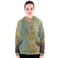 Aqua Textured Abstract Women s Zipper Hoodie