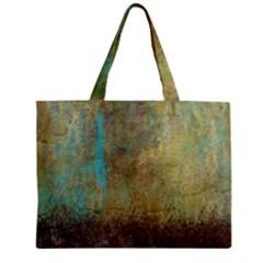 Aqua Textured Abstract Zipper Mini Tote Bag
