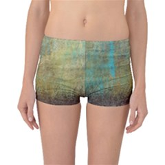Aqua Textured Abstract Boyleg Bikini Bottoms
