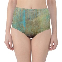 Aqua Textured Abstract High-Waist Bikini Bottoms