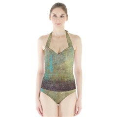 Aqua Textured Abstract Halter Swimsuit