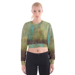Aqua Textured Abstract Women s Cropped Sweatshirt