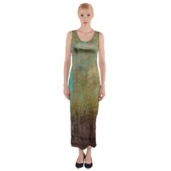 Aqua Textured Abstract Fitted Maxi Dress