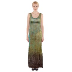 Aqua Textured Abstract Maxi Thigh Split Dress
