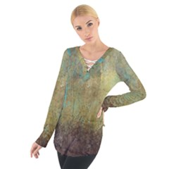 Aqua Textured Abstract Women s Tie Up Tee
