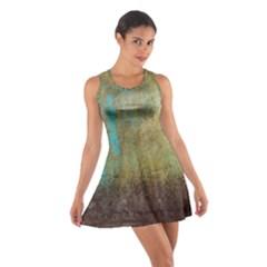 Aqua Textured Abstract Cotton Racerback Dress