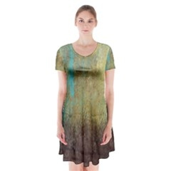 Aqua Textured Abstract Short Sleeve V Neck Flare Dress