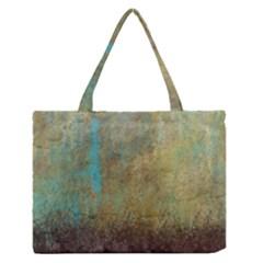Aqua Textured Abstract Medium Zipper Tote Bag