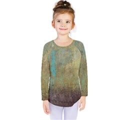 Aqua Textured Abstract Kids  Long Sleeve Tee