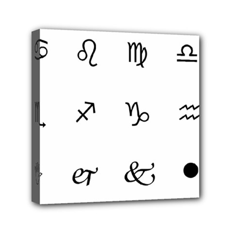 Set Of Black Web Dings On White Background Abstract Symbols Mini Canvas 6  X 6