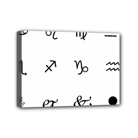 Set Of Black Web Dings On White Background Abstract Symbols Mini Canvas 7  X 5