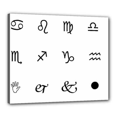 Set Of Black Web Dings On White Background Abstract Symbols Canvas 24  X 20