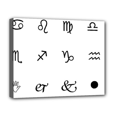 Set Of Black Web Dings On White Background Abstract Symbols Deluxe Canvas 20  X 16