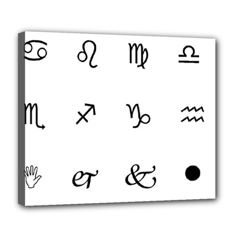 Set Of Black Web Dings On White Background Abstract Symbols Deluxe Canvas 24  X 20