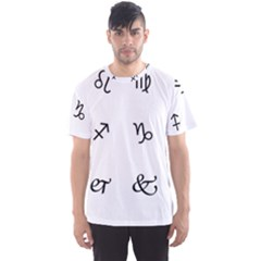 Set Of Black Web Dings On White Background Abstract Symbols Men s Sport Mesh Tee