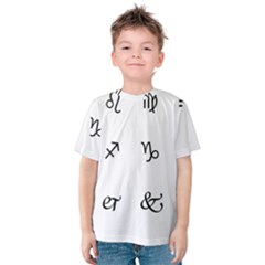 Set Of Black Web Dings On White Background Abstract Symbols Kids  Cotton Tee